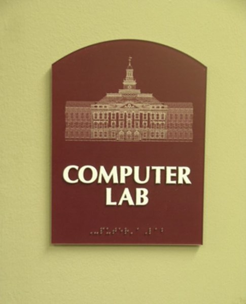 ADA and Wayfinding custom computer lab sign