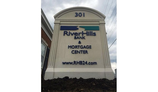 New location?  A custom monument sign makes for a Grand Opening!  (Custom Monument Sign by Signs Now Cincinnati for RiverHills Bank, Milford, OH)
