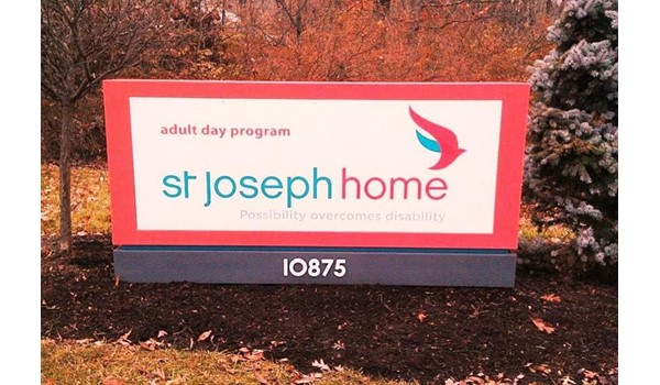 Distinguishing special facilities with distinctive monument sign design & materials.  (Monument sign by Signs Now Cincinnati for St. Joseph Home, Cincinnati, OH)