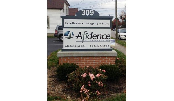 Promoting your consultative expertise with ours!  (Monument Sign by Signs Now Cincinnati for Afidence, Mason, OH)