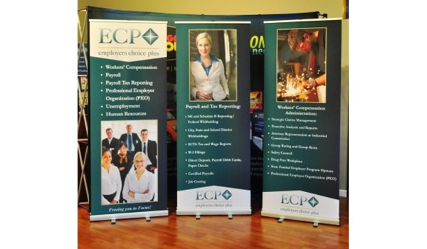 There are virtually no limits when you combine color, text, and photographic images.  (Trade show banners by Signs Now Cincinnati for Employers Choice Plus, West Chester, OH)