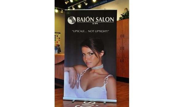 When beauty is a must, we can help with impactful, digital graphics.  (Display Banner by Signs Now Cincinnati for Bajon Salon, West Chester, OH)
