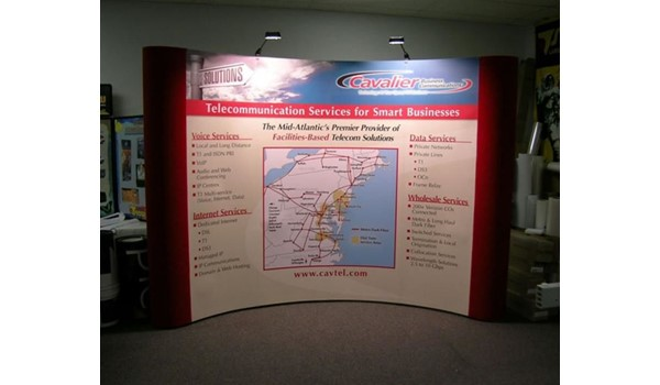 Popup tension fabric display with back lighting